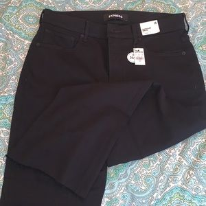 Express High Rise Cropped Flare black jeans 14